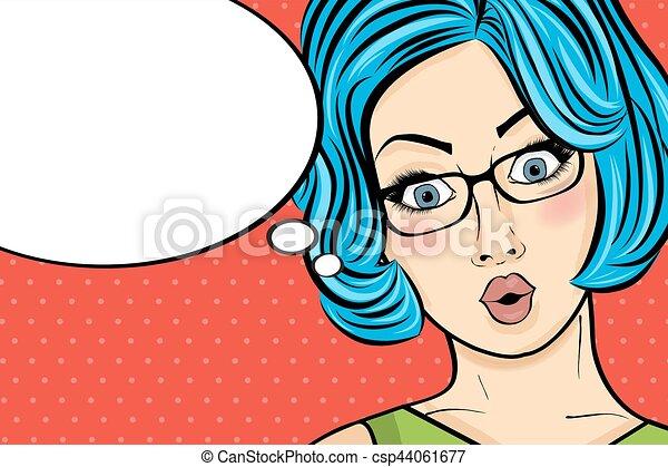 Mujer de arte pop. Mujer cómica con burbuja de habla. Chica con pinta. - csp44061677