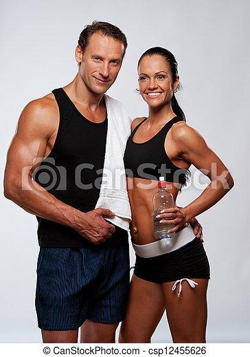 mujer, atlético, después, ejercicio salud, hombre - csp12455626