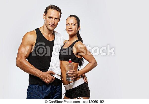 mujer, atlético, después, ejercicio salud, hombre - csp12060192