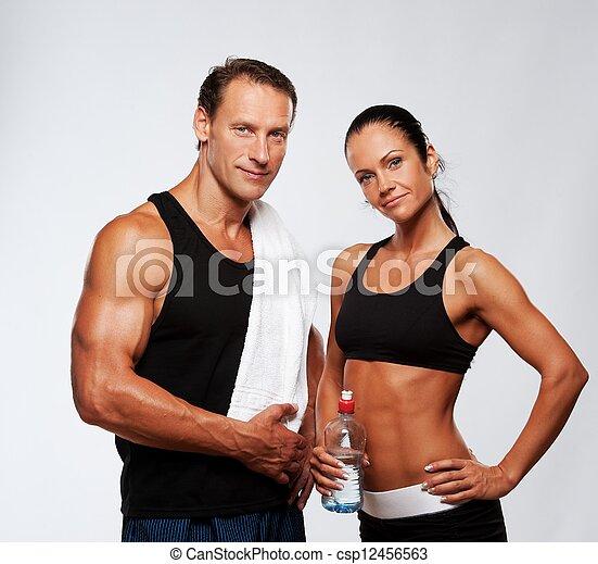 mujer, atlético, después, ejercicio salud, hombre - csp12456563