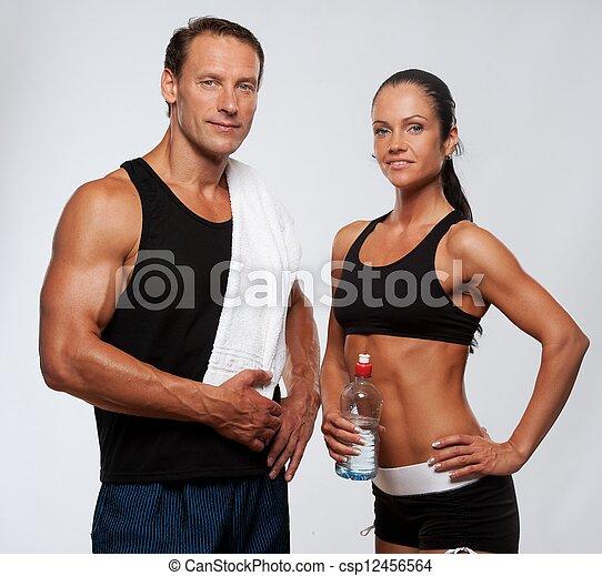 mujer, atlético, después, ejercicio salud, hombre - csp12456564