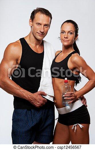 mujer, atlético, después, ejercicio salud, hombre - csp12456567