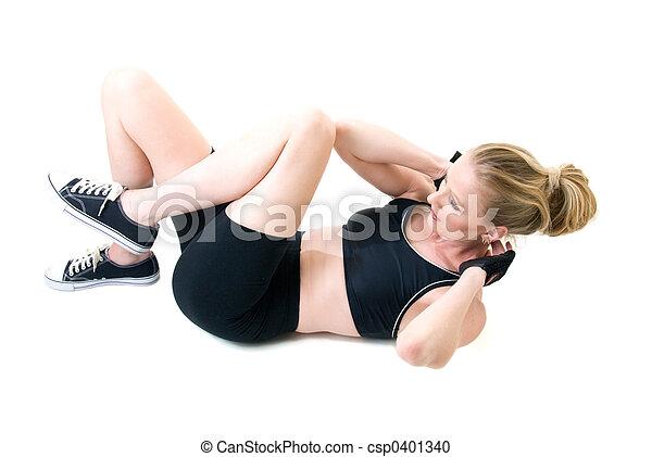 mujer, aumentar, sentarse - csp0401340