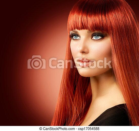 Retrato de mujer hermosa. Cara de chica modelo pelirroja - csp17054588
