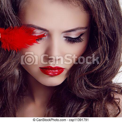 mujer, belleza, labios, moda, portrait., rojo - csp11391791