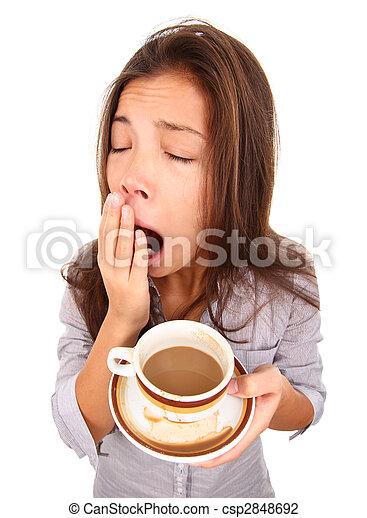 mujer, bostezando, cansado - csp2848692