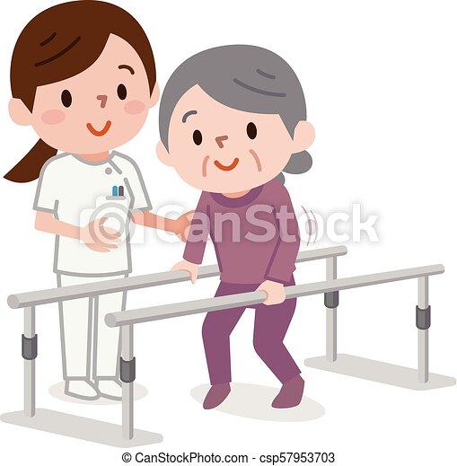 Una anciana aprendiendo a caminar en fisioterapia - csp57953703