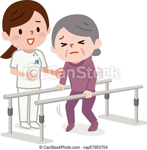 Una anciana aprendiendo a caminar en fisioterapia - csp57953704
