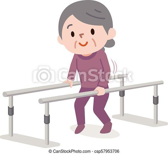 Una anciana aprendiendo a caminar en fisioterapia - csp57953706