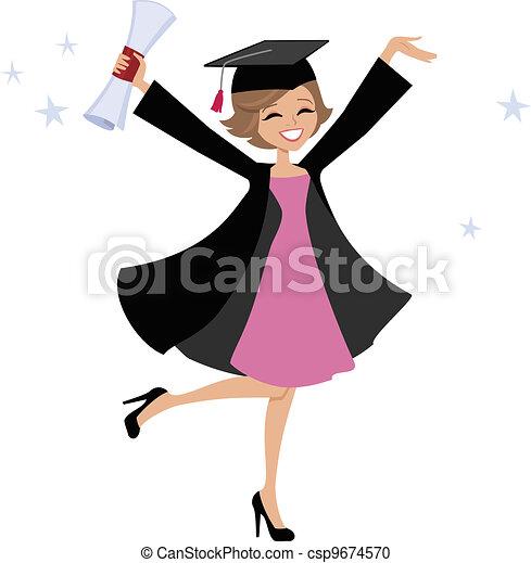 mujer, caricatura, graduado - csp9674570
