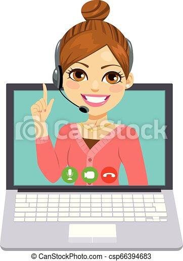 Llama a la mujer del centro en línea - csp66394683
