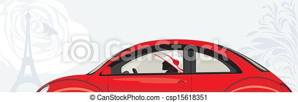 Conduciendo a la mujer un auto rojo - csp15618351