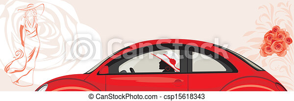 Conduciendo a la mujer un auto rojo - csp15618343
