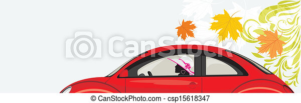 Conduciendo a la mujer un auto rojo - csp15618347
