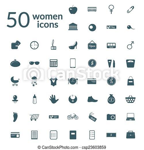mujer, conjunto, 50, iconos - csp23603859
