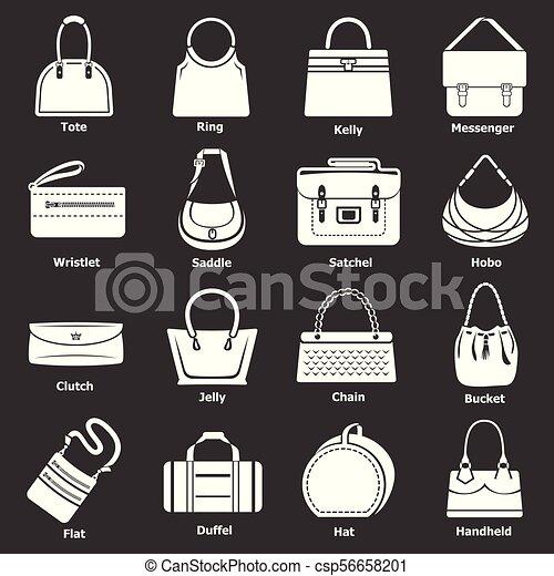 886f11b39 Mujer, conjunto, iconos, gris, bolsa, vector, tipos. Vector, mujer ...