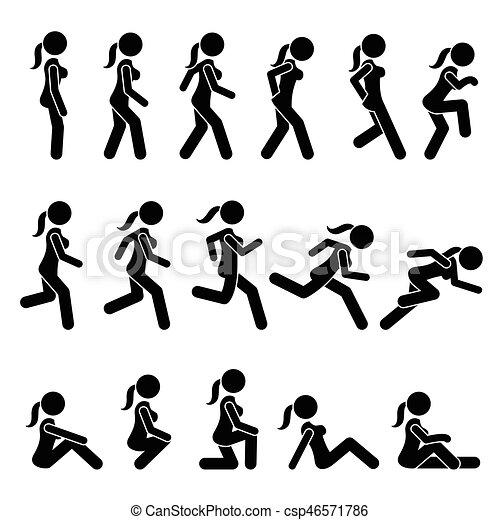 mujer, corra, movements., acciones, caminata, básico - csp46571786