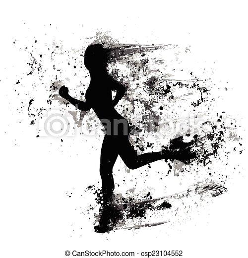 La mujer del deporte ejecuta siluetas de salpicaduras de pintura, chica negra aislada - csp23104552