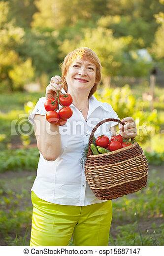 Mujer con cesta de verduras cosechadas - csp15687147