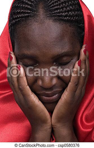 Mujer cristiana africana - csp0580376