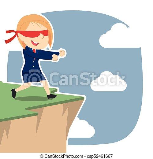 Una mujer de negocios con los ojos vendados caminando al borde del acantilado - csp52461667