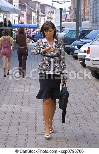 mujer de negocios, apuro - csp0796706