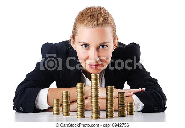 Mujer de negocios con monedas en blanco - csp10942756