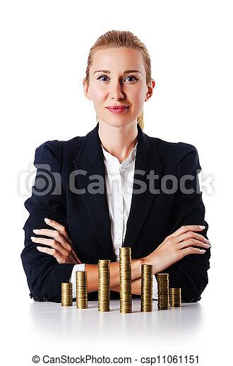 Mujer de negocios con monedas en blanco - csp11061151
