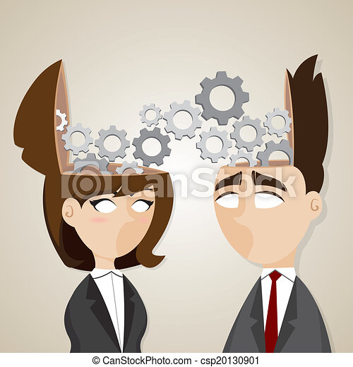 Empresario de dibujos animados y mujer de negocios trabajando juntos - csp20130901