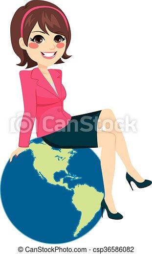 mujer de negocios, globo, sentado - csp36586082