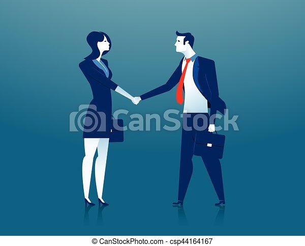 Mujer de negocios y hombre de negocios estrechando la mano - csp44164167