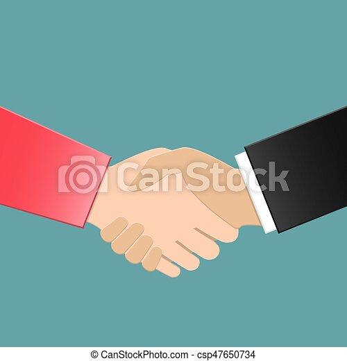 Mujer de negocios y hombre de negocios estrechando la mano - csp47650734