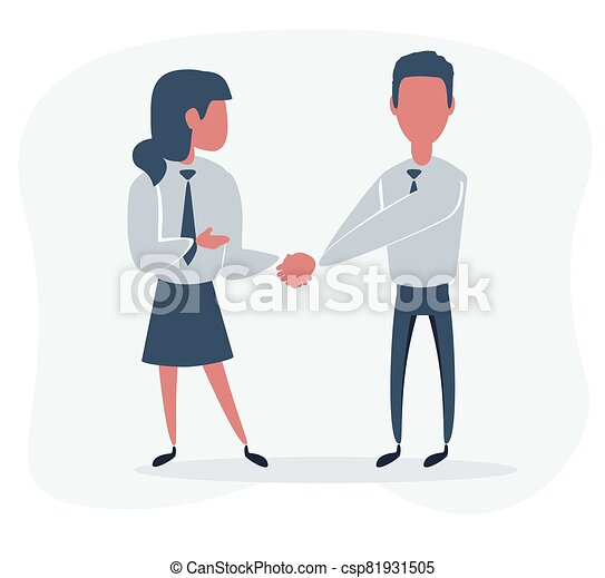 mujer de negocios, manos temblar, hombre de negocios - csp81931505