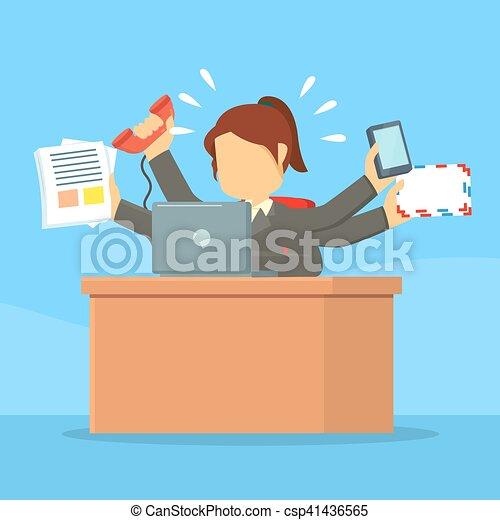 Mujer de negocios ocupada - csp41436565