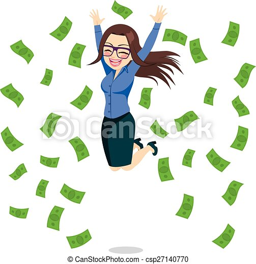 Mujer de negocios feliz saltando dinero - csp27140770
