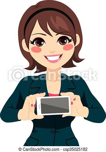 Mujer de negocios con smartphone - csp35025182