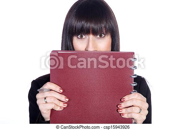 mujer de negocios, tímido - csp15943926