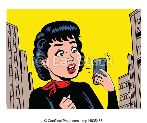 mujer de teléfono, retro - csp14835466