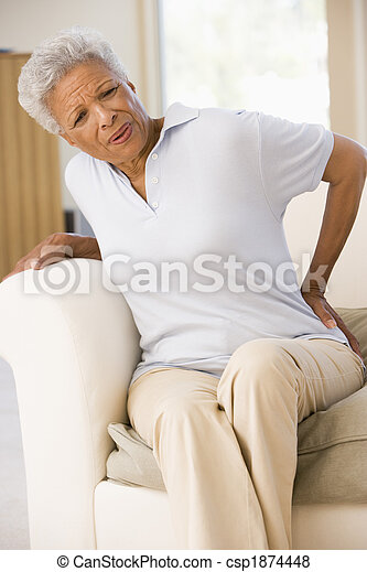 mujer, dolor, espalda - csp1874448