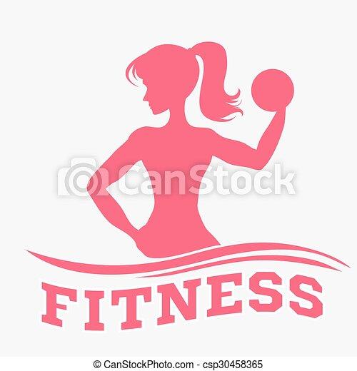 Una mujer delgada con pesas - csp30458365