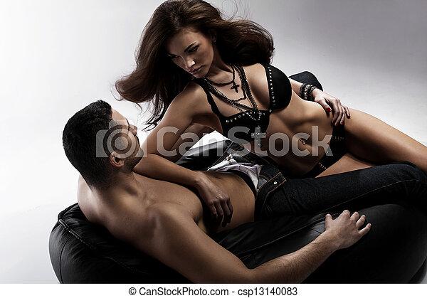 mujer, ella, morena, tentador, adorable, novio - csp13140083