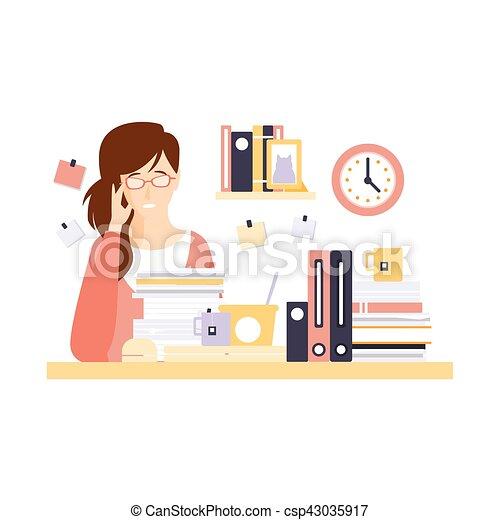 Mujer ella oficina car cter trabajo trabajador for Imagenes de oficina de trabajo