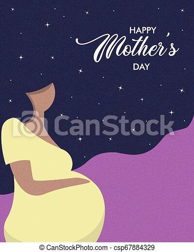 La tarjeta del día de las madres felices de una mujer embarazada - csp67884329
