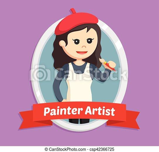 Mujer pintora en emblema - csp42366725