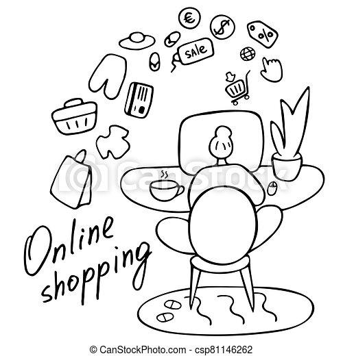mujer, entregar, vector, concept., compras, compras, internet., joven, en línea, ilustración, dibujado - csp81146262