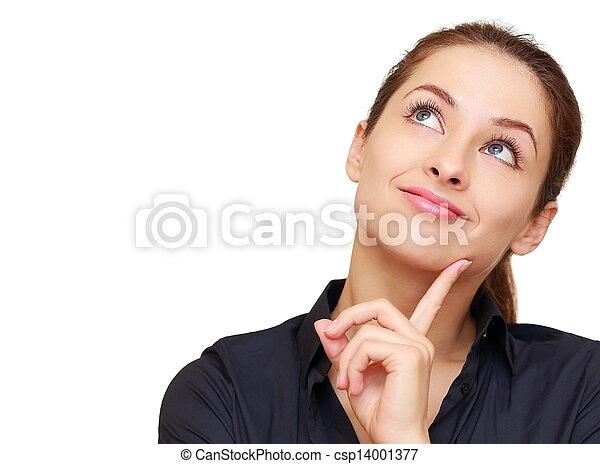 Pensando en una mujer feliz mirando con un espacio vacío aislado - csp14001377