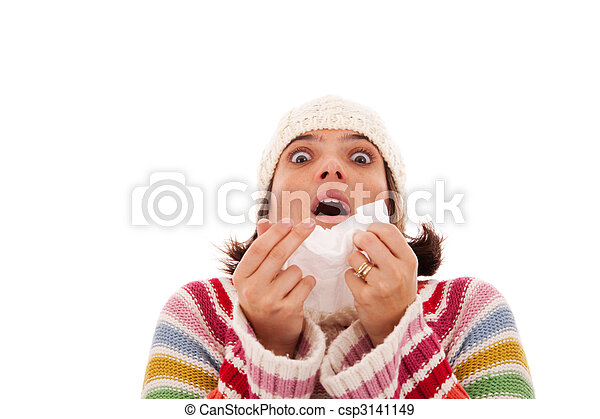 Mujer estornudando en un pañuelo - csp3141149
