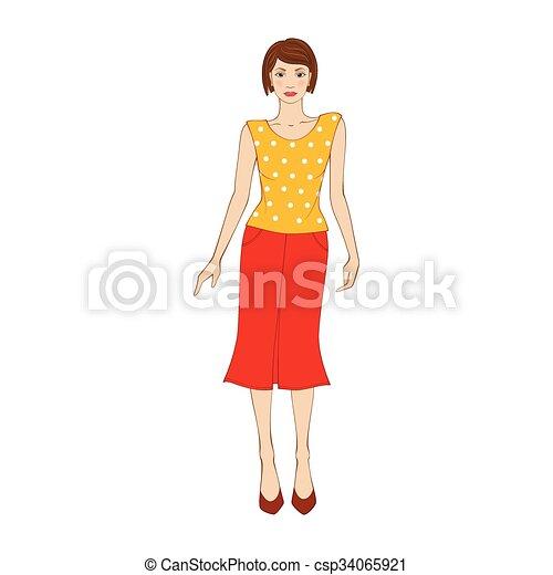 Mujer con blusa amarilla y falda naranja icono plano - csp34065921