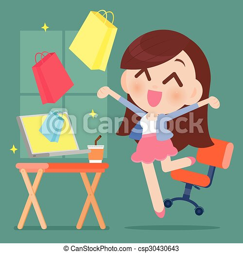 Mujer feliz comprando en línea - csp30430643