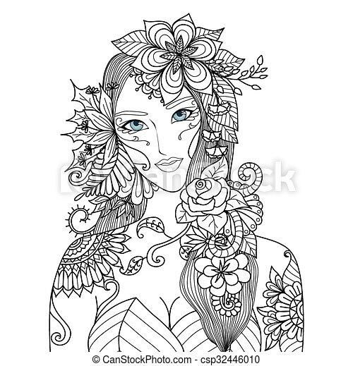 Mujer, flores. Hermoso, libro colorear, adulto, hada, bosque.